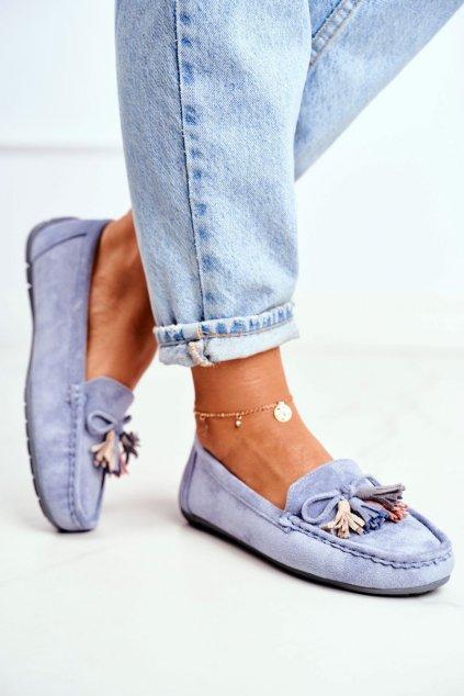Dámske mokasíny farba modrá kód obuvi 20PB35-2003 BLUE