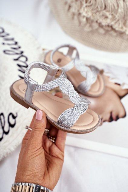 Detské sandále farba sivá kód obuvi 505 SILVER