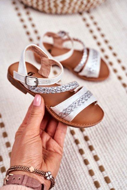 Detské sandále farba sivá kód obuvi 503 SILVER