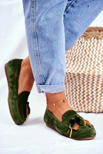 Dámske mokasíny farba zelená kód obuvi 04494-09/00-5 ZIELONY