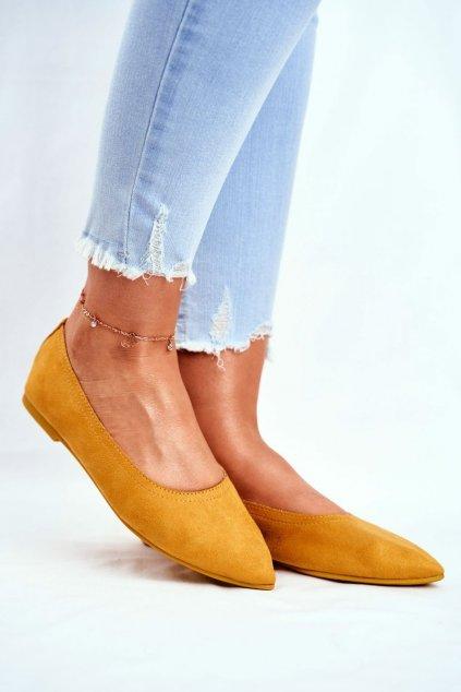 Dámske balerínky farba žltá kód obuvi NK19P YELLOW