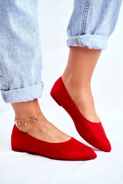 Dámske balerínky farba červená kód obuvi NK19P RED