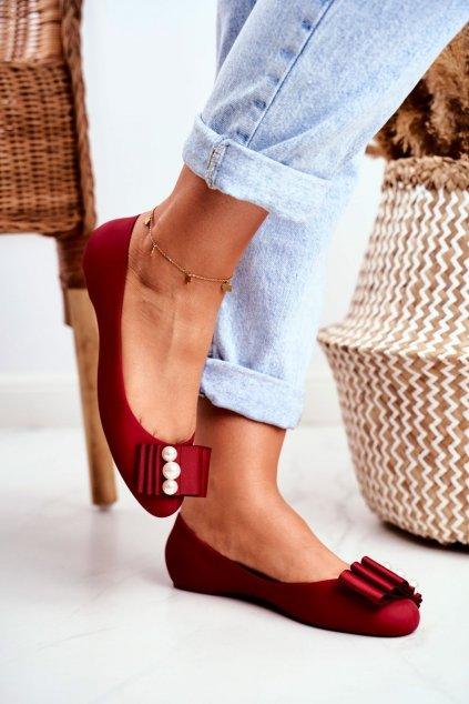 Dámske balerínky farba červená kód obuvi A68 RED