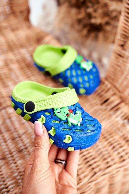 Detské šľapky farba modrá kód obuvi 6301 ROYAL/GREEN