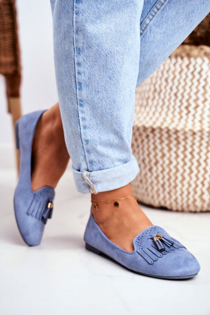 Dámske mokasíny farba modrá kód obuvi FM051 L.BLUE