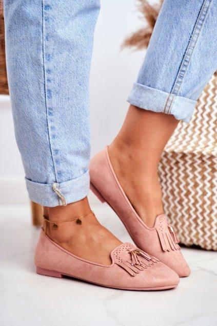 Dámske mokasíny farba ružová kód obuvi FM051 PINK