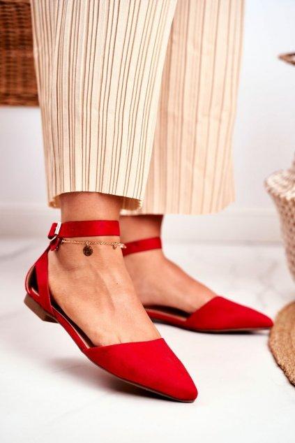 Dámske balerínky farba červená kód obuvi CL73 RED