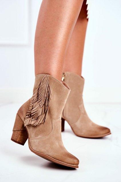 Členkové topánky na podpätku farba hnedá kód obuvi 1197 BEIGE
