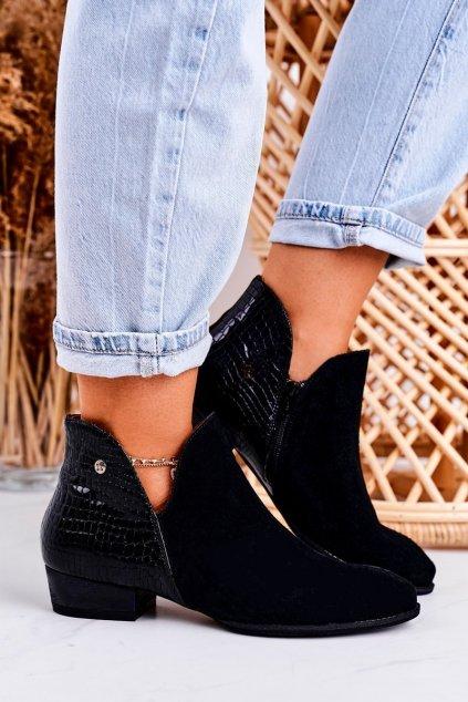 Členkové topánky na podpätku farba čierna kód obuvi 04091-72/00-5 BLK
