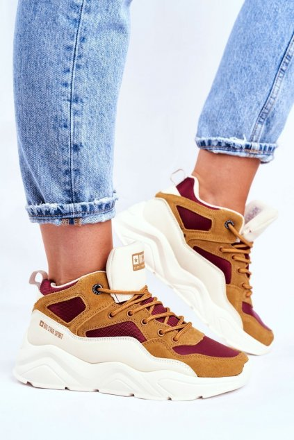 Dámske tenisky farba hnedá kód obuvi GG274646 BEIGE/BURGUNDY