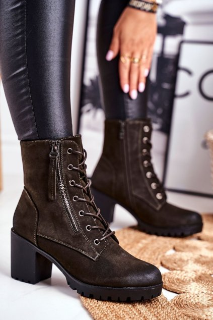Členkové topánky na podpätku farba zelená kód obuvi 45-37 KHAKI