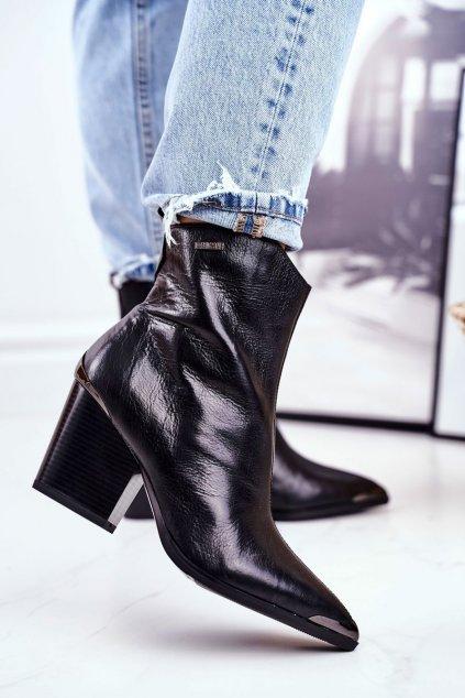 Členkové topánky na podpätku farba čierna kód obuvi GG274919 BLK