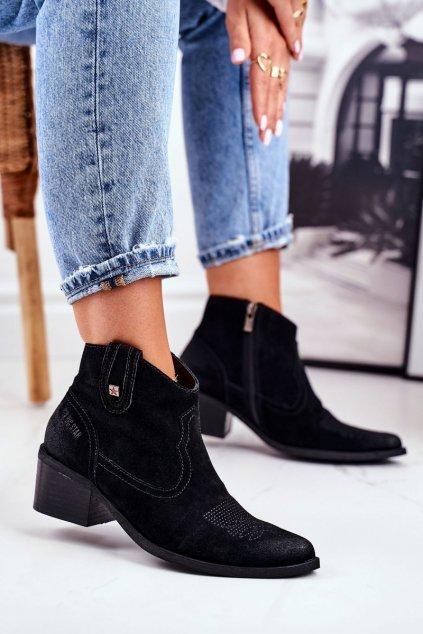Členkové topánky na podpätku farba čierna kód obuvi GG274329 BLK