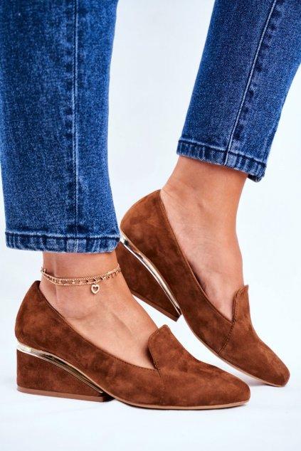 Dámske poltopánky farba hnedá kód obuvi 1205 CYNAM.ZAMSZ