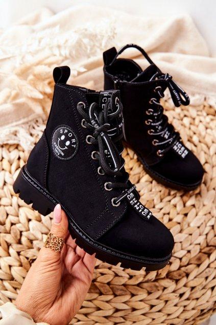 Detské členkové topánky farba čierna kód obuvi 21-16208 BLK