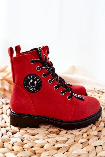 Detské členkové topánky farba červená kód obuvi 22-16208 RED