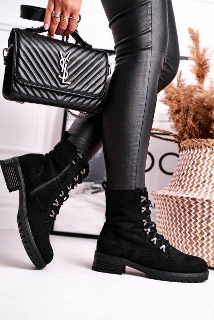 Členkové topánky na podpätku farba čierna kód obuvi RQ301 BLK