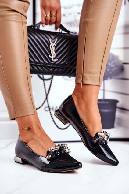 Dámske balerínky farba čierna kód obuvi 2157 BLK 087-081