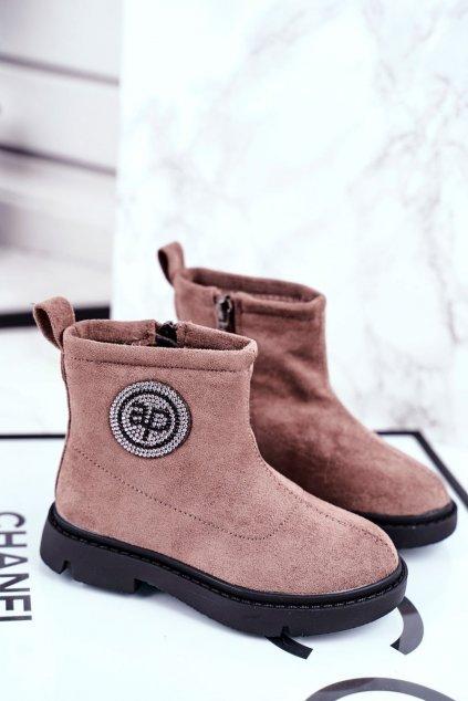 Detské členkové topánky farba hnedá kód obuvi NQ89 BEIGE