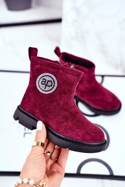 Detské členkové topánky farba čierna kód obuvi NQ89 WINE