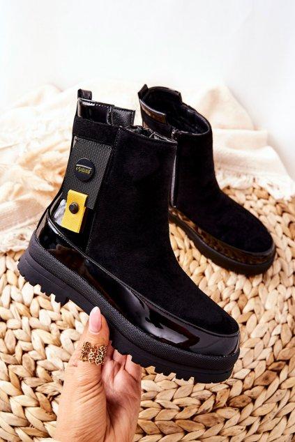 Detské členkové topánky farba čierna kód obuvi DQ79/GQ404 BLK