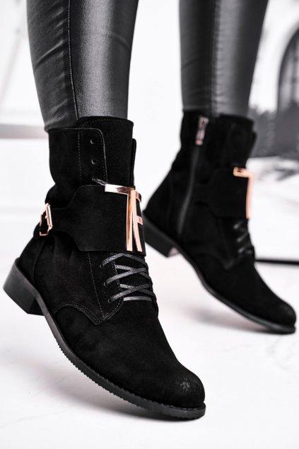 Členkové topánky na podpätku farba čierna kód obuvi 2591 028 BLK