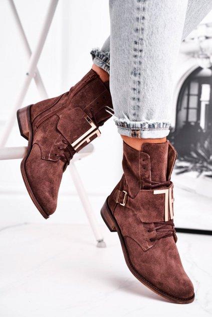 Členkové topánky na podpätku farba hnedá kód obuvi 2591 036 CAPPUCCINO