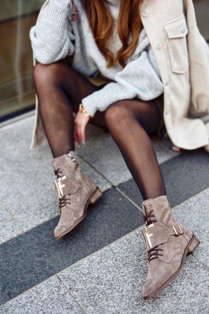 Členkové topánky na podpätku farba hnedá kód obuvi 2591 032 J.CAPPUCCINO