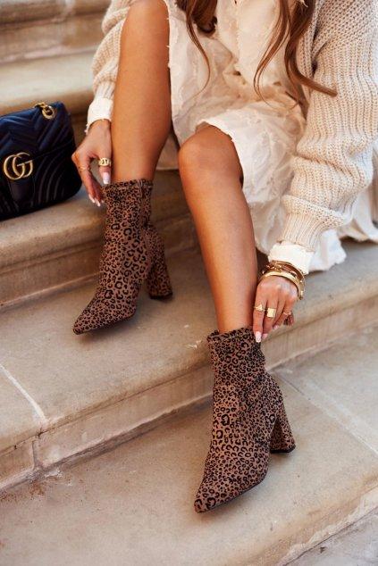 Členkové topánky na podpätku farba hnedá kód obuvi C20-3 CAMEL