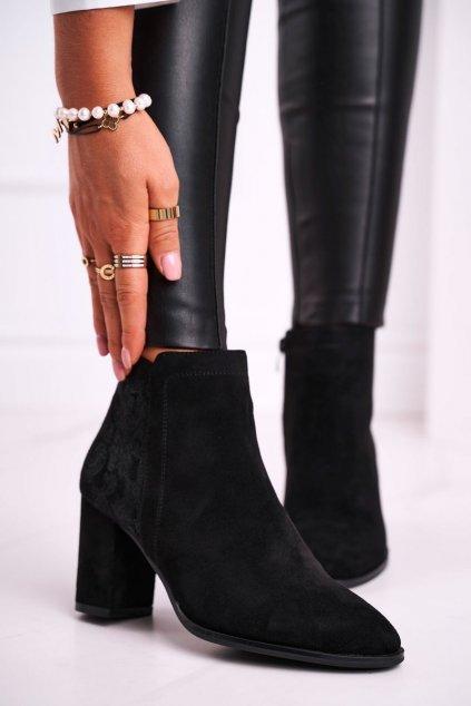 Členkové topánky na podpätku farba čierna kód obuvi BT508 BLK MIC