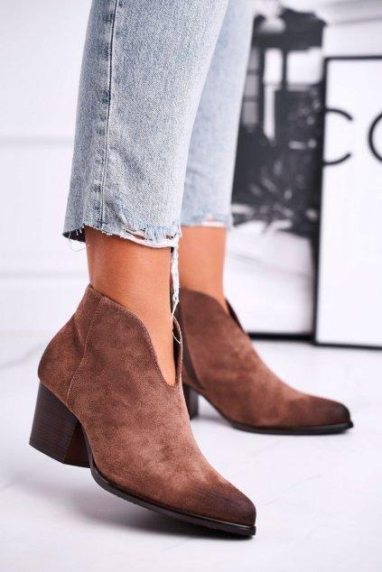 Členkové topánky na podpätku farba hnedá kód obuvi 21-10542 DK.BEIGE