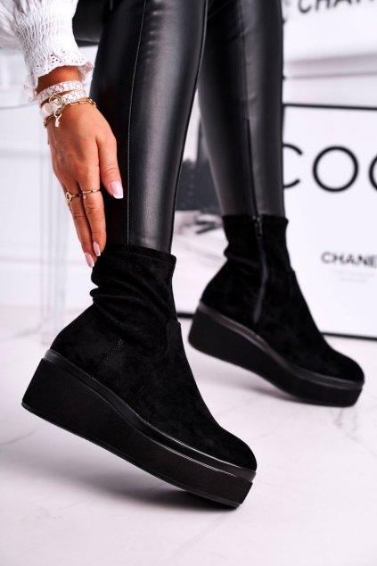 Členkové topánky na podpätku farba čierna kód obuvi BT730 BLK