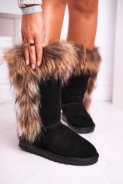 Dámske snehule farba čierna kód obuvi W19112 BLK