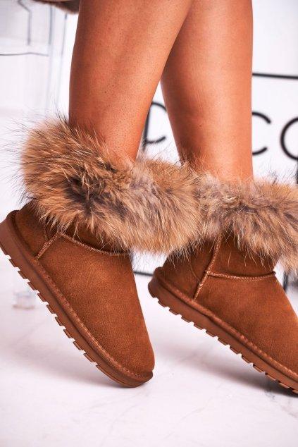 Dámske snehule farba hnedá kód obuvi 5820 CAMEL