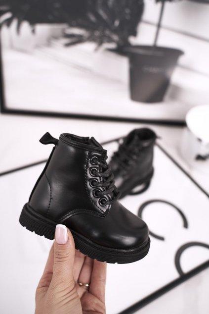 Detské členkové topánky farba čierna kód obuvi 7332-A BLK
