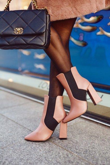Členkové topánky na podpätku farba ružová kód obuvi L1330 PINK