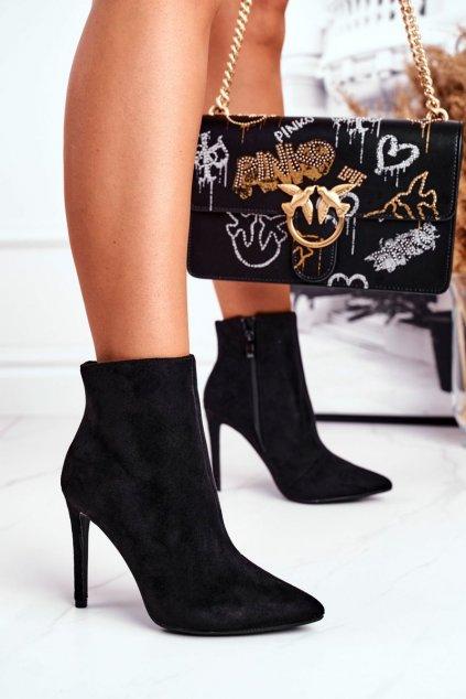 Členkové topánky na podpätku farba čierna kód obuvi 301-71 BLK