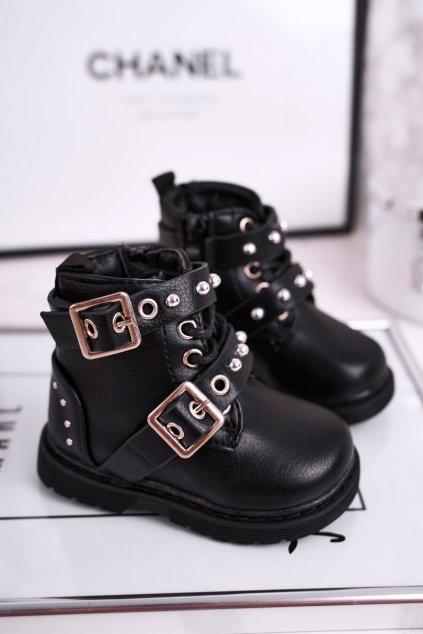 Detské členkové topánky farba čierna kód obuvi 7334-A BLK