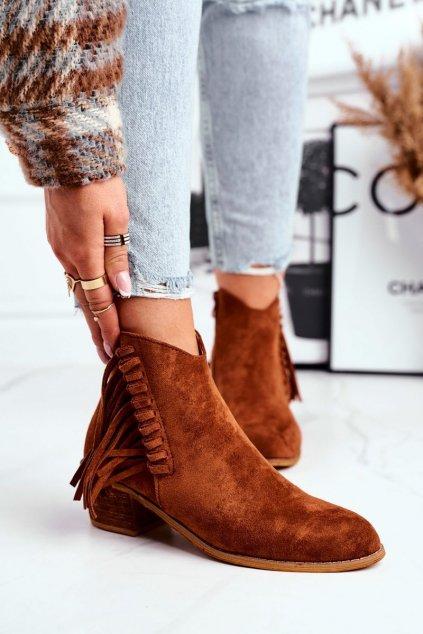 Členkové topánky na podpätku farba hnedá kód obuvi 9475Y CAMEL