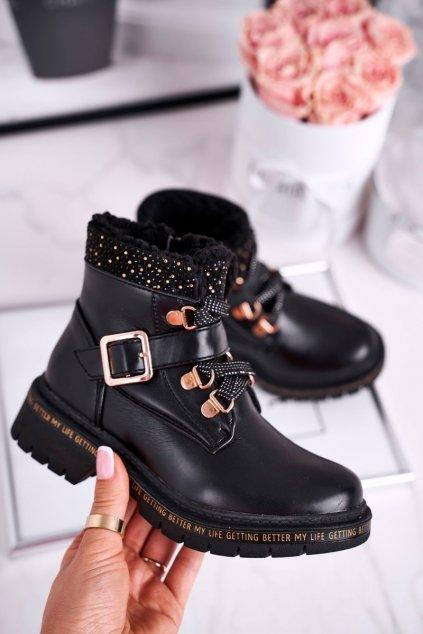 Detské členkové topánky farba čierna kód obuvi 20DZ60-3237 BLK