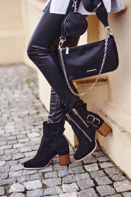 Členkové topánky na podpätku farba čierna kód obuvi A5710 BLK