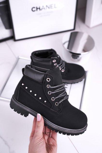 Detské členkové topánky farba čierna kód obuvi HYT002-19 BLACK