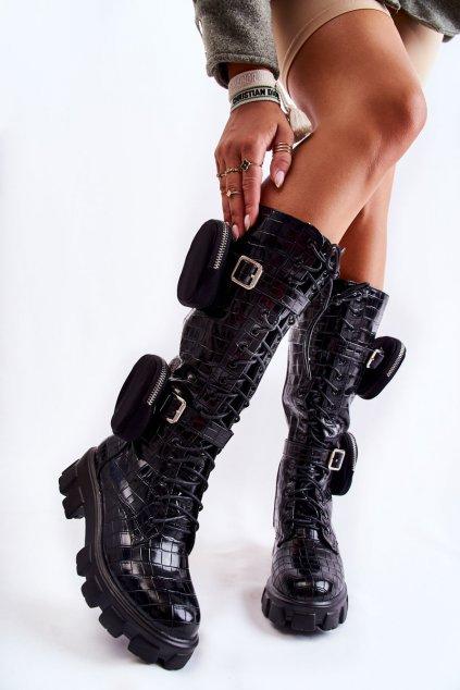 Dámske čižmy farba čierna kód obuvi 128-A2 CROCO BLACK