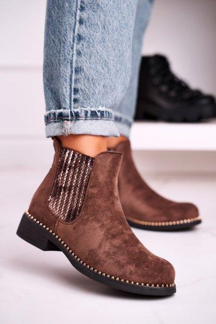 Členkové topánky na podpätku farba hnedá kód obuvi HQ231 KHAKI