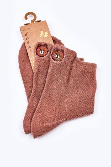 Detské ponožky farba zelená kód LC11-18 BROWN