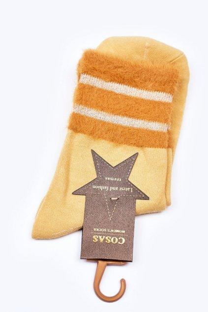 Dámske ponožky farba žltá kód LM2-14 YELLOW