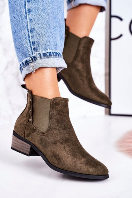 Členkové topánky na podpätku farba zelená kód obuvi 20Y8040-11 GREEN