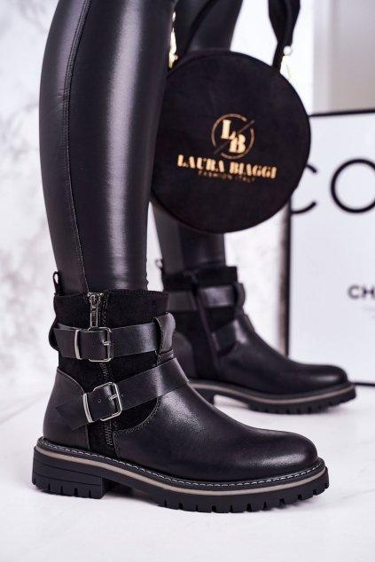 Členkové topánky na podpätku farba čierna kód obuvi 20Y8155-1 BLK