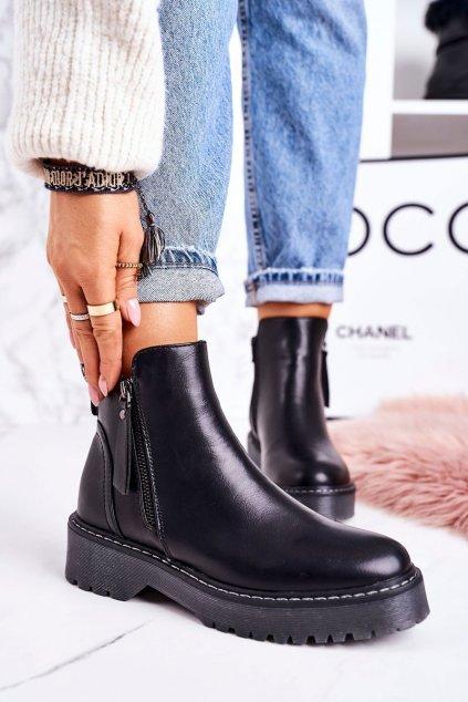 Členkové topánky na podpätku farba čierna kód obuvi 20Y8138-1 BLK