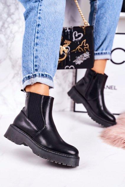 Členkové topánky na podpätku farba čierna kód obuvi 20Y8070-1 BLK